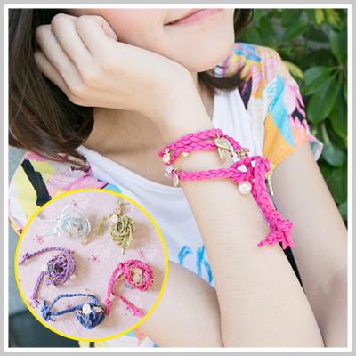 ☆雙兒網☆ Girl's walk 【O814】風靡韓國歐美明星愛用款愛心珍珠吊飾麂皮編織繩手鍊