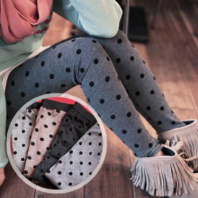 ☆雙兒網☆【P269】歐美時尚圓點絨質褲頭鬆緊式內搭褲-共四色