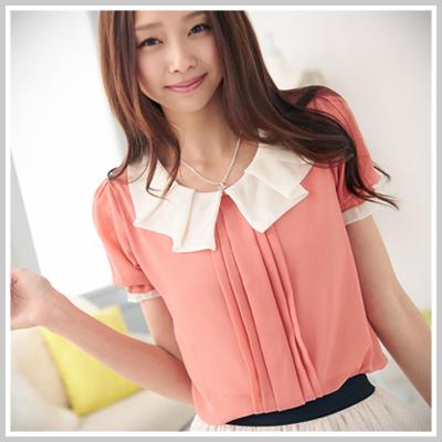 ☆雙兒網☆Spring Dating【U460】韓國甜心領口配色前壓折短袖雪紡上衣-共2色
