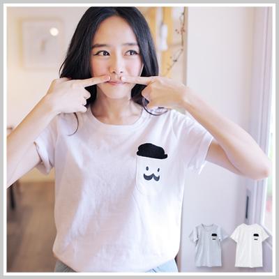 ☆雙兒網☆Break Time 現貨+預購【U549】韓製口袋帽子翹鬍子短袖T恤