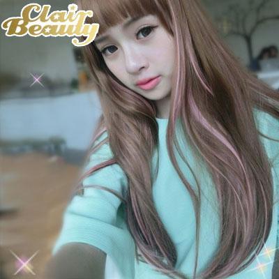 長直髮挑染最強美少女盛典氣質長髮~高仿真超自然整頂假髮【MC079】☆雙兒網☆