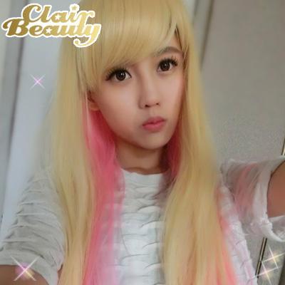 混色挑染~Sweet Girl 草莓奶昔長直髮~耐熱整頂假髮【MC092】☆雙兒網☆