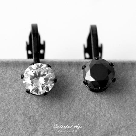 耳環 8MM閃耀水鑽鋼製黑色夾式耳環 實搭配件 抗過敏材質 免耳洞 柒彩年代【ND366】單支售價
