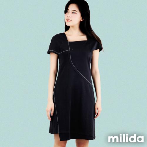 【Milida,全店七折免運】-夏季商品-素色款-修肩剪裁洋裝