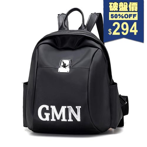 韓系防水鎖扣GMN印花字母尼龍後背包 兩用包 中性包 包飾衣院 P1877 現貨+預購