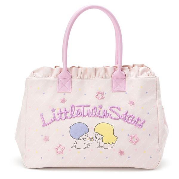 【真愛日本】16072200033手提袋-TS電繡字母星星紫   三麗鷗家族 Kikilala 雙子星   包包  手提包  正品