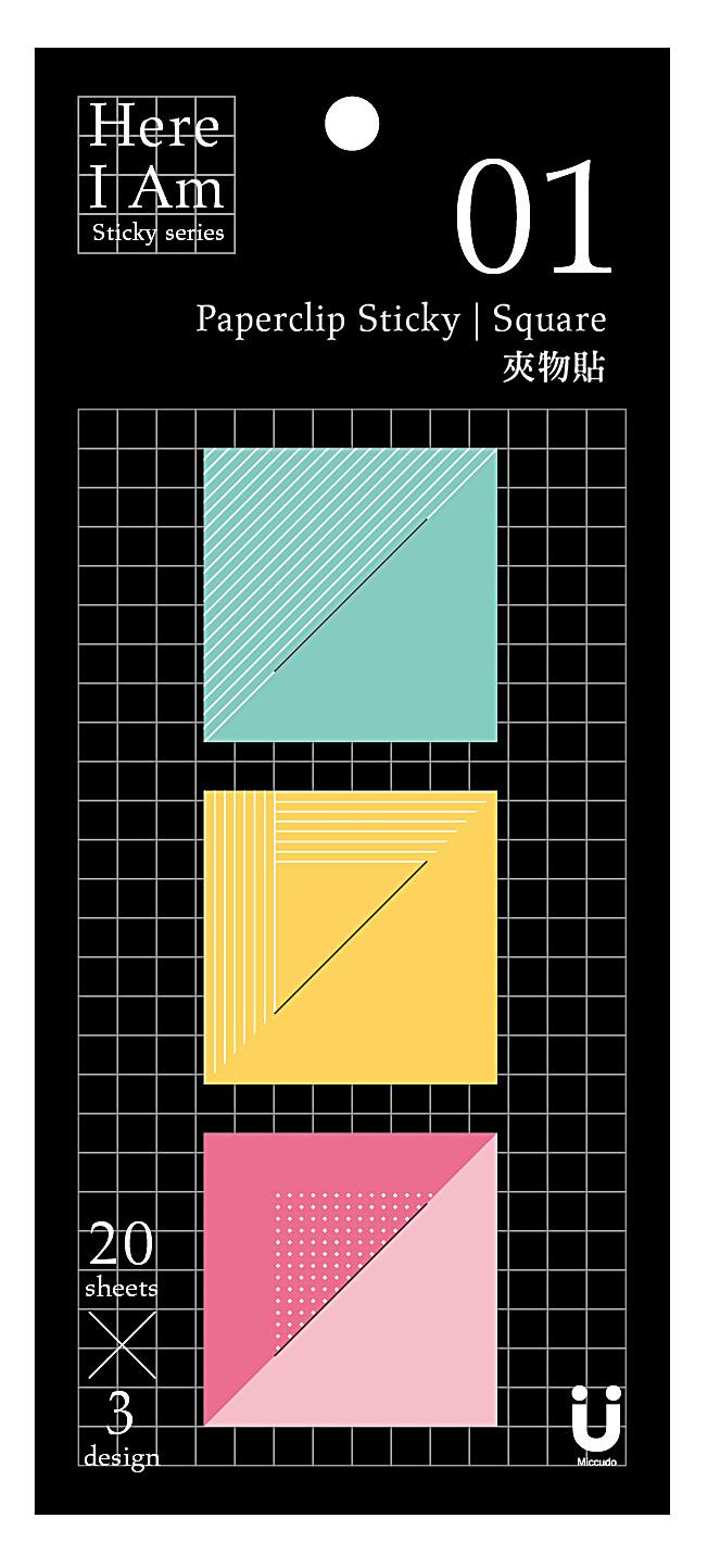 【Miccudo】夾物 斜角 照片 發票 票根 黏貼 方形便利貼 (60張 /包)