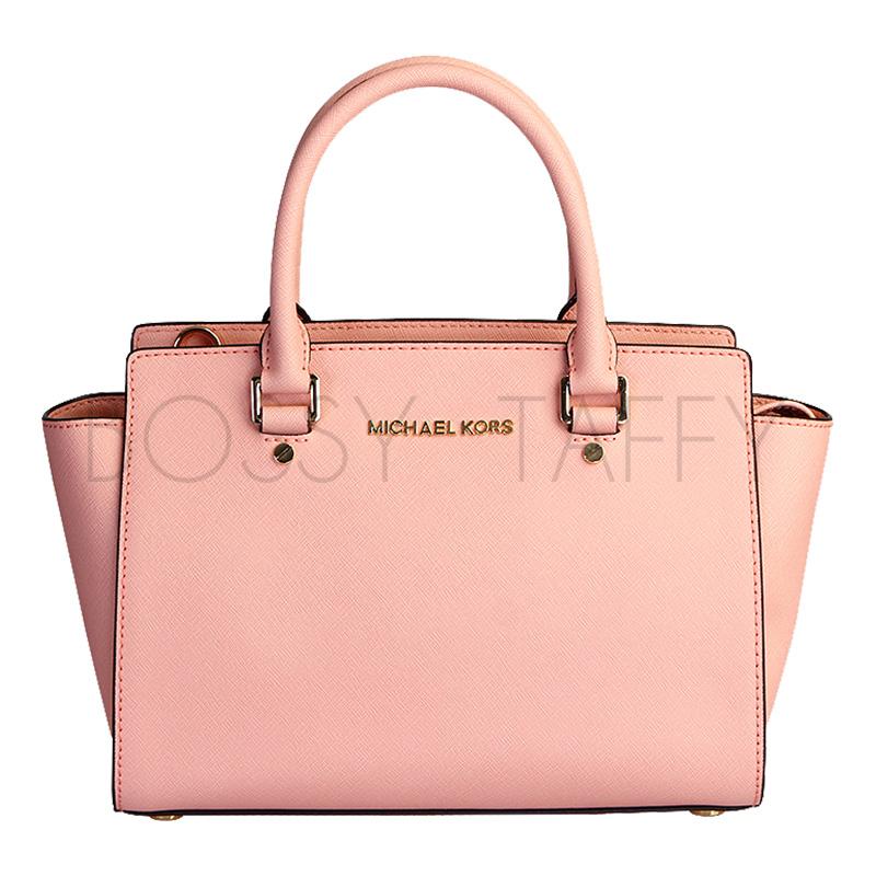 MICHAEL KORS 30S3GLMS2L 淺粉皮革中號手提斜背梯型托特包 Selma Saffiano Leather Medium Satchel pale pink