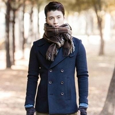 毛呢外套 短款大衣-潮男雙排釦韓版修身男風衣72e16【獨家進口】【米蘭精品】