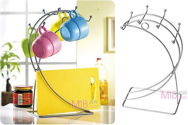 BO雜貨【YV2399】流線型月型8頭廚具架 杯架 沾板架 杯具架 杯子收納 杯具收納