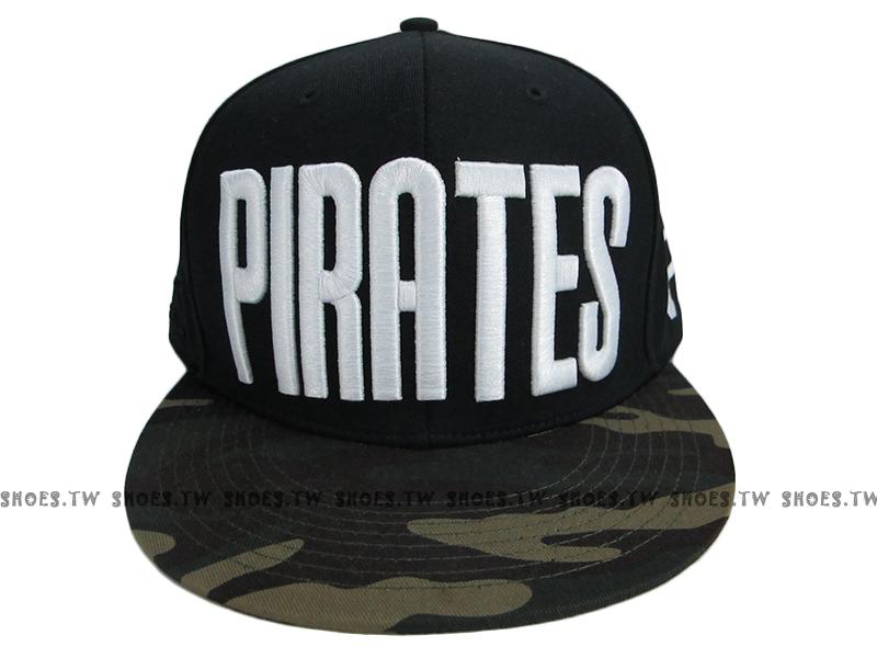 《降價7折》Shoestw【5562003-013】MLB 棒球帽 調整帽 潮流帽 海盜隊 黑綠迷彩 大字款