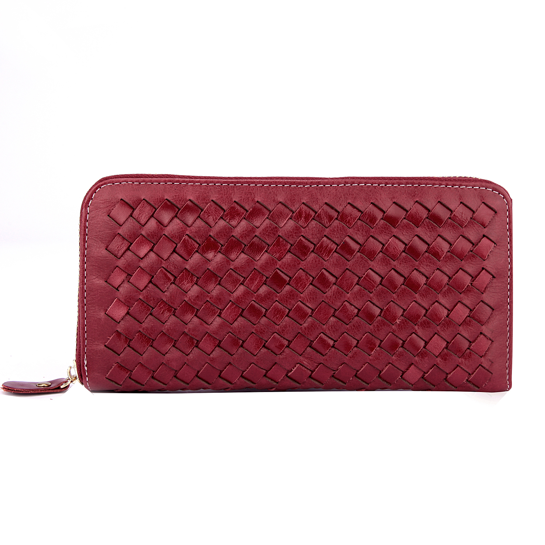 【BEIBAOBAO】法式 編織真皮時尚皮夾(甜莓紅)
