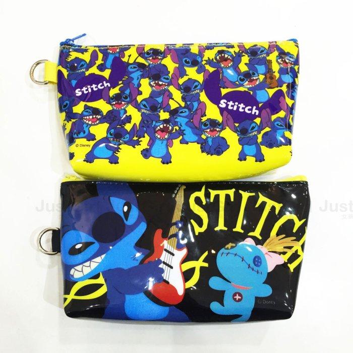 迪士尼 史迪奇 醜丫頭 Stitch 鉛筆盒 筆袋 三角 單面 收納袋 化妝包 文具 正版日本授權 * JustGirl *