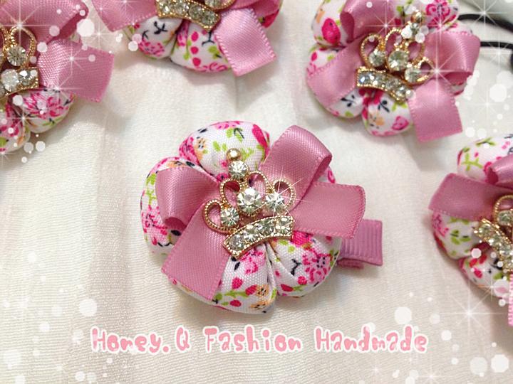 Honey Q-寶貝公主粉紅皇冠Q小花.髮夾 / 髮圈 / 髮箍 / 髮帶