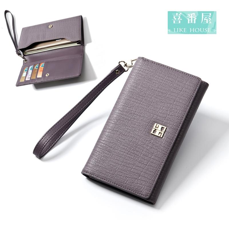 【喜番屋】日韓版真皮頭層牛皮女士可放5.5吋手機皮夾皮包錢夾零錢包長夾手包手拿包手機包流行女包女夾LH369