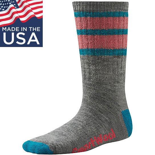 【鄉野情戶外專業】 Smartwool |美國| Striped Hike Medium Crew 兒童羊毛襪(厚)/美麗諾羊毛襪 兒童襪 雪襪-灰/SW0SW146