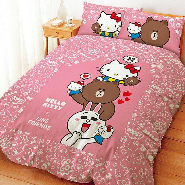 【UNIPRO】LINE FRIENDS x Hello Kitty 聯名 熊大 兔兔 5X6.2尺 雙人床包組(枕頭套X2+床單X1) 手偶同樂會 正版授權 台灣精品