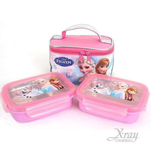 X射線【C042257】冰雪奇緣不鏽鋼樂扣便當盒+提袋組(2入),雙扣式餐盒/兒童餐具/環保安心/上班族