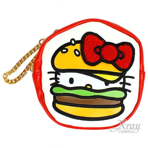 X射線【C216330】Hello Kitty 漢堡造型包附金屬鍊(白底紅邊),零錢包/皮包/化妝包