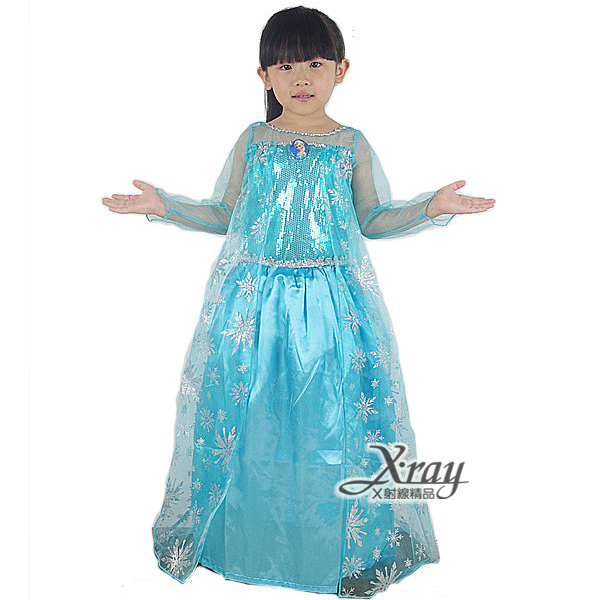 X射線【W380115】艾莎Elsa長裙(網藍衣.水藍衫)-2種size,冰雪奇緣/化妝舞會/萬聖節/聖誕節/兒童變裝/cosplay