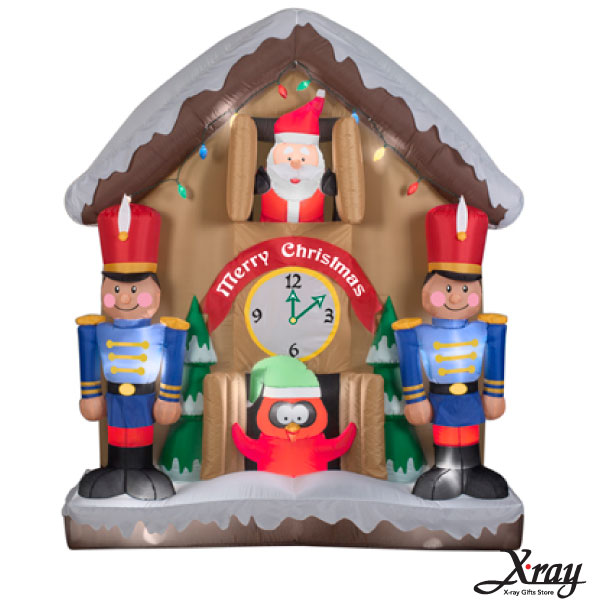 X射線【X007801】198CM聖誕老公公鐘屋充氣(會動),聖誕佈置/充氣擺飾好收納/聖誕充氣