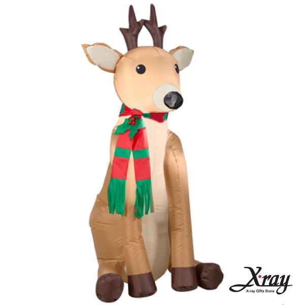 X射線【X007816】122CM圍巾小鹿(坐著)充氣,聖誕佈置造景/充氣擺飾好收納/聖誕充氣