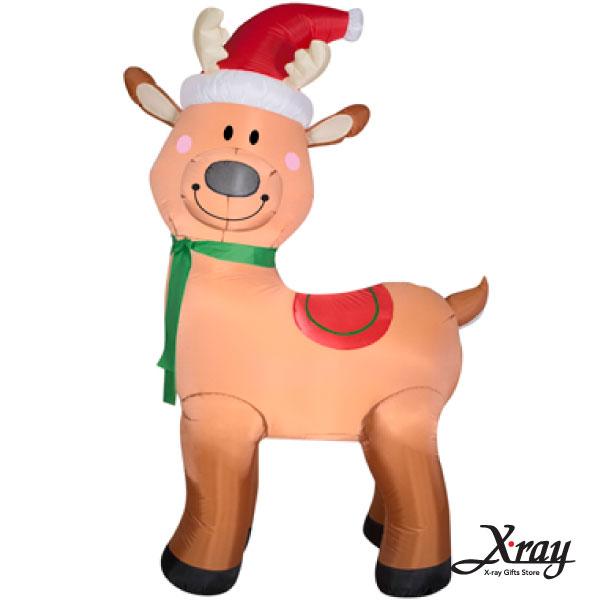X射線【X007818】183CM聖誕帽微笑小鹿(站著)充氣,聖誕佈置造景/充氣擺飾好收納/聖誕充氣
