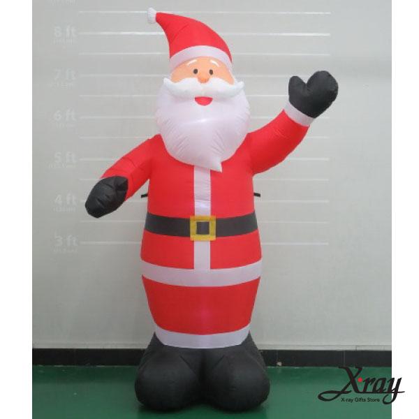X射線【X007827】244CM聖誕老公公舉左手充氣(黑手套),聖誕佈置/充氣擺飾好收納/聖誕充氣