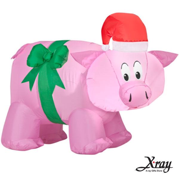 X射線【X007830】82CM聖誕小粉紅豬充氣,聖誕佈置/充氣擺飾好收納/聖誕充氣