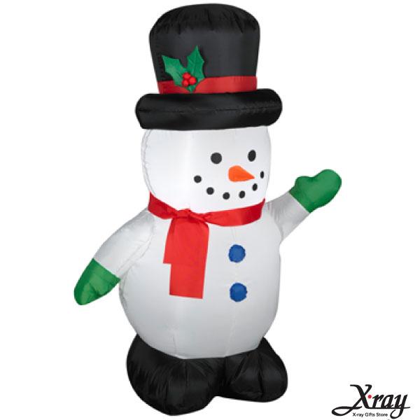 X射線【X007832】107CM聖誕小雪人舉左手充氣,聖誕佈置/充氣擺飾好收納/聖誕充氣