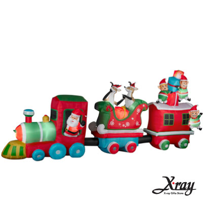 X射線【X007835】203CM聖誕小火車老公公精靈充氣,聖誕佈置/充氣擺飾好收納/聖誕充氣