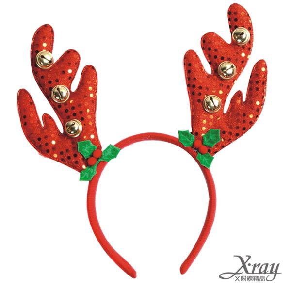 X射線【X016100】紅麋鹿角亮片鈴鐺髮圈,聖誕節/聖誕擺飾/聖誕佈置/聖誕造景/聖誕裝飾