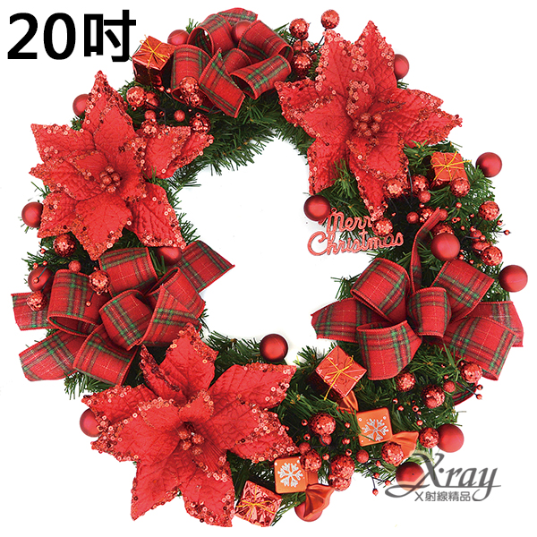 X射線【X531380】20吋成品樹圈(蘇格蘭紅),聖誕節/聖誕佈置/聖誕掛飾/聖誕裝飾/聖誕吊飾/聖誕花材