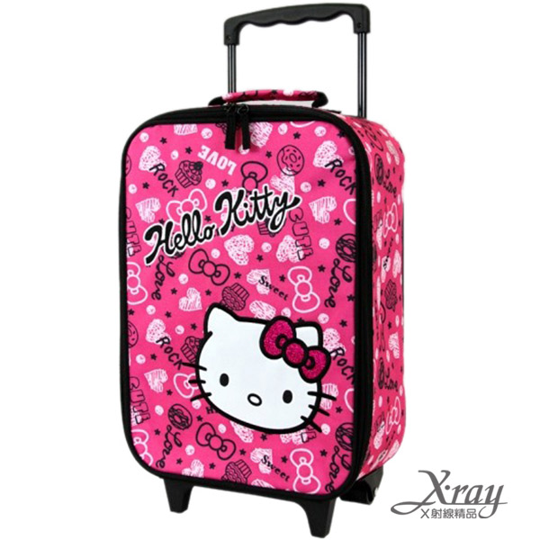 X射線【C728878】Hello Kitty18吋塗鴉甜點拉桿旅行登機箱(桃),旅行箱/行李箱/拉桿箱/購物箱