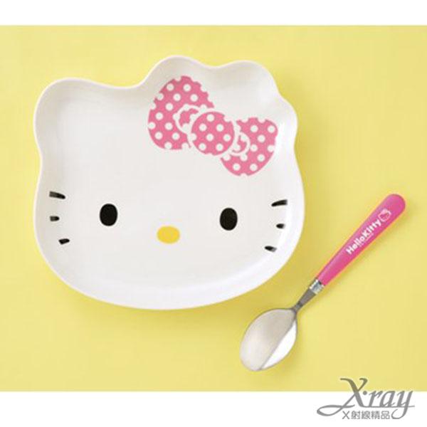 X射線【C011786】Hello Kitty 陶瓷頭型盤+湯匙組景品,盤子/餐盤/點心盤