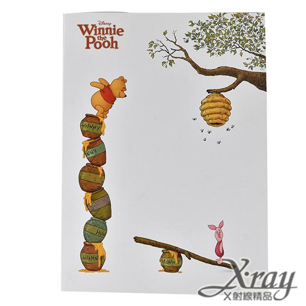 X射線【C104877】迪士尼16K橫線筆記本-維尼,記事本/辦公小物/文具用品/維尼