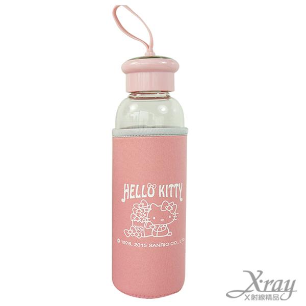 X射線【C221719】Hello Kitty 附套玻璃水壺-粉,水瓶/隨身瓶/飲水壺/外出水壺/防漏