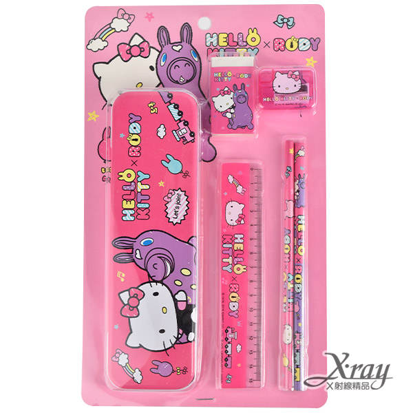 X射線【C899276】Kitty&Rody可愛文具組,筆盒/文具包/開學季