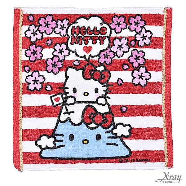 X射線【C235539】HeloKitty富士山小方巾,洗澡巾/紗布巾/毛巾/開學必備/攜帶方便