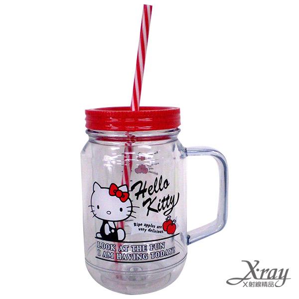 X射線【C296028】HelloKitty塑膠梅森杯(400ML),冷水壺/水杯/飲料瓶/塑膠杯