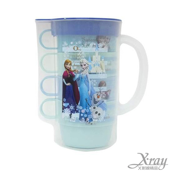 X射線【C306846】冰雪奇緣塑膠冷水壺+4入塑膠杯組,茶壺/水瓶水罐