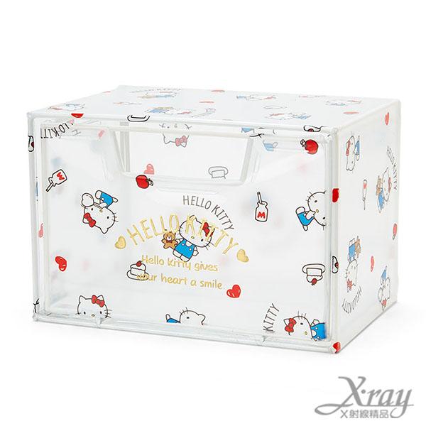 X射線【C513354】Hello Kitty透明抽屜收納箱,置物筒/卡通/可愛日式/收納/三麗鷗/日式精品