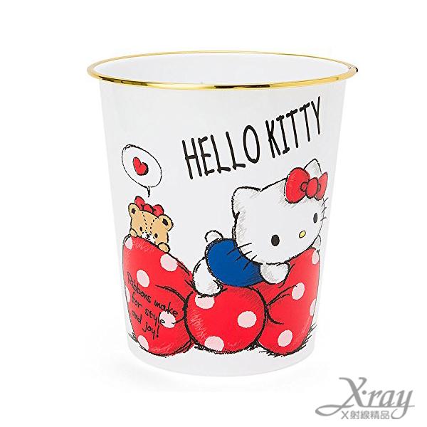 X射線【C514160】Hello Kitty垃圾桶-緞帶,置物筒/垃圾筒/卡通/可愛日式/收納/Keroppi/三麗鷗/日式精品