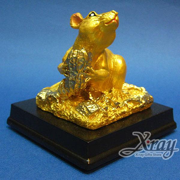 X射線【Z340101】彩珍珠金12生肖-(鼠)+木座,春節/過年佈置/擺飾