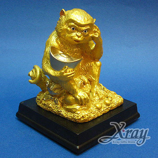 X射線【Z340109】彩珍珠金12生肖-(猴)+木座,春節/過年佈置/擺飾