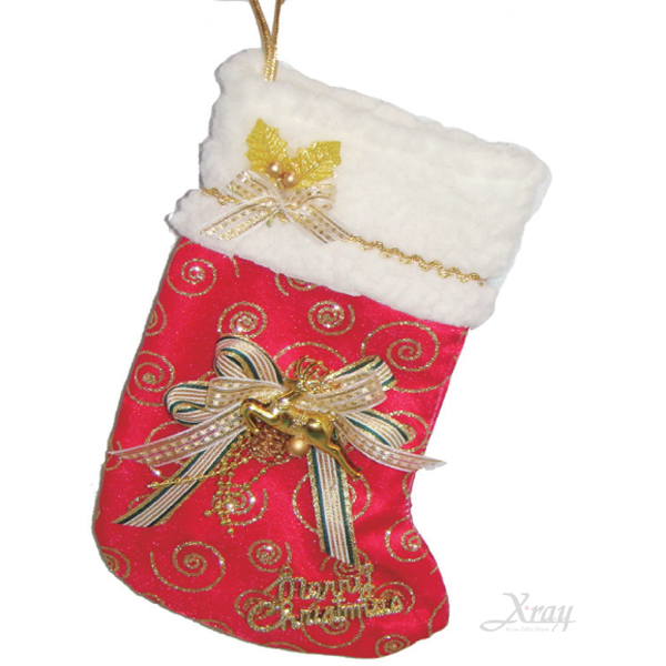 """X射線【X38391】亮粉裝飾聖誕襪10""""(紅色蝴蝶結),聖誕衣/聖誕帽/聖誕襪/聖誕禮物袋/聖誕老人"""
