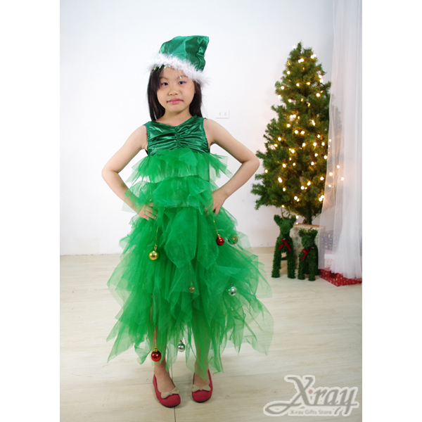 X射線【X919151】豪華聖誕樹禮服(綠色),Party/角色扮演/化妝萬聖舞會/表演造型都合適~