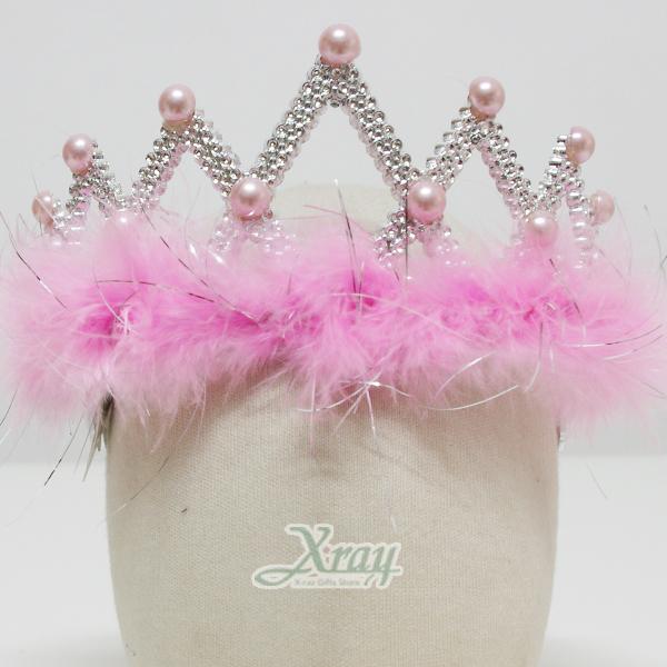 X射線【W004670】珍珠羽毛皇冠(粉色),化妝舞會/表演造型/尾牙表演/聖誕節/派對道具/cosplay