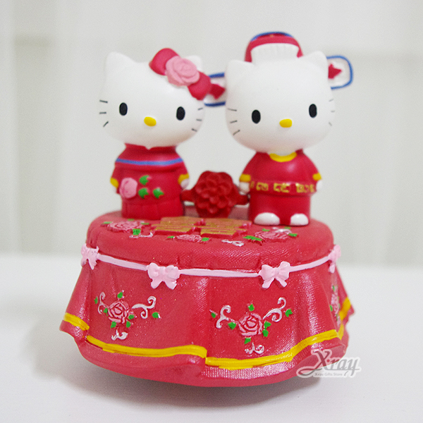 X射線【C013594】Kitty針線情音樂鈴,卡通/音樂盒/擺飾/情人節/聖誕節/送禮/婚禮小物