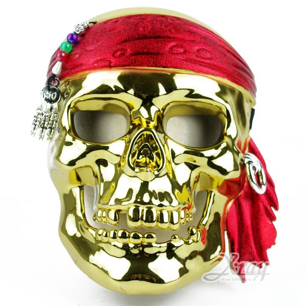 X射線【W644342】電鍍骷髏海盜面具(金色),化妝舞會/表演造型/尾牙表演/聖誕節/派對道具/cosplay